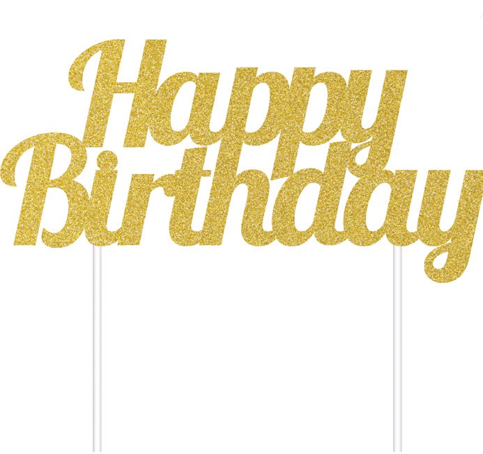 Gold Glitter Happy Birthday Cake Toppers 1 Ct Denela Desserts Llc