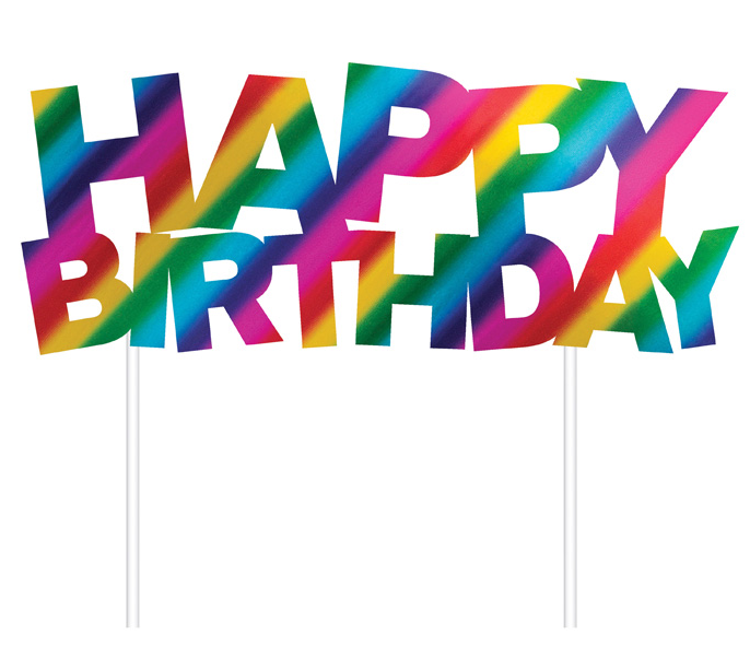 Rainbow Foil Happy Birthday Cake Toppers 1 Ct Denela Desserts Llc
